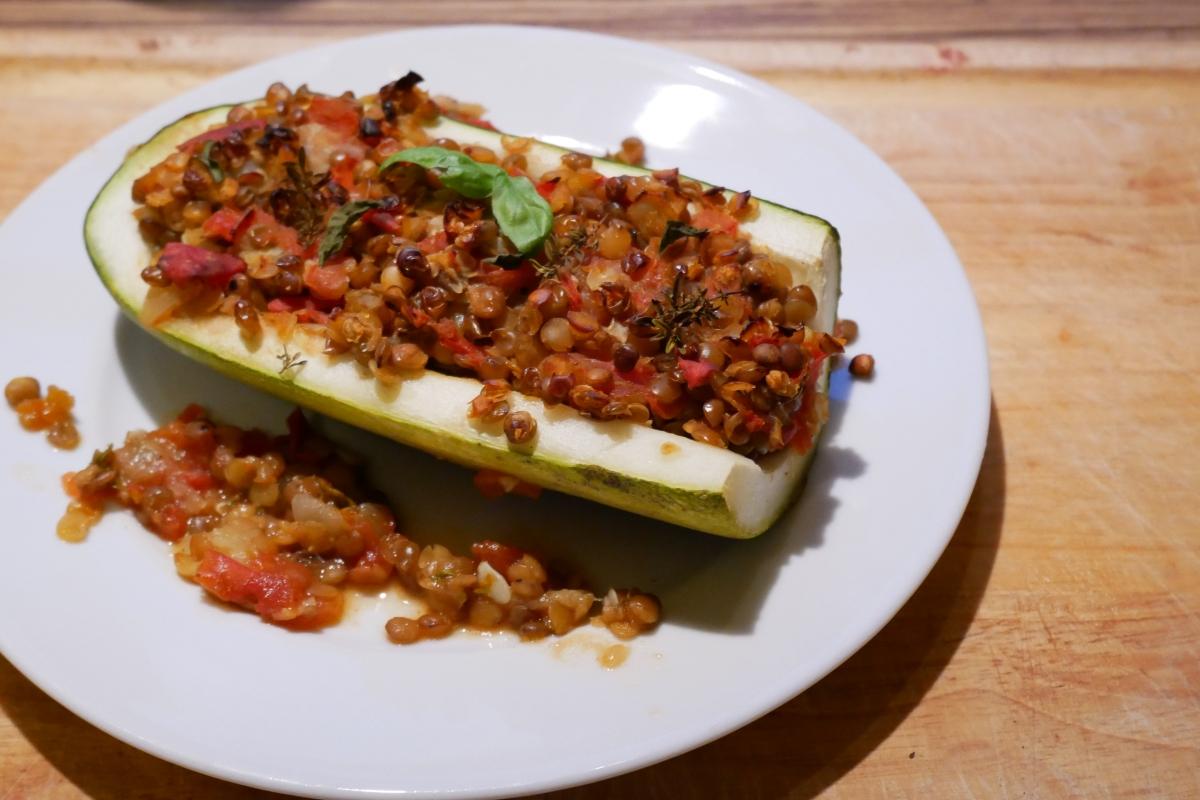 Vegan als Student : gefüllte Zucchini